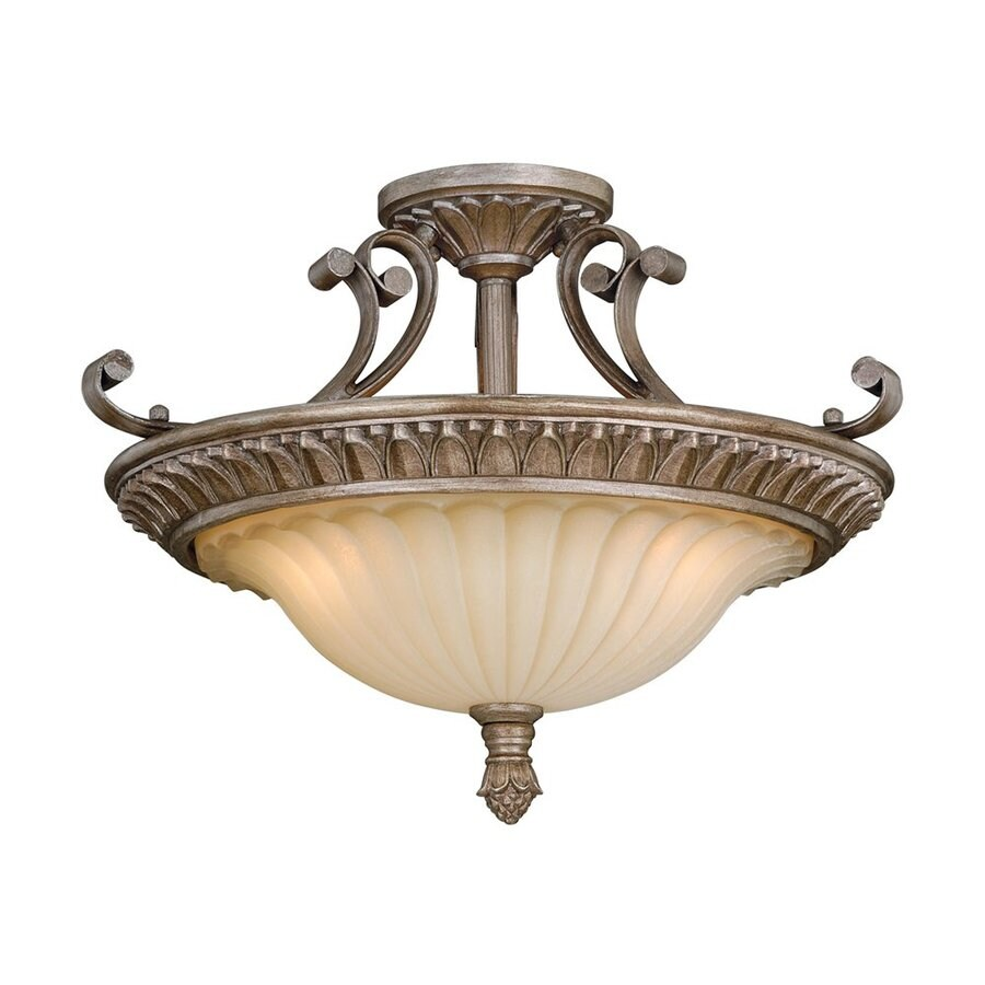 Cascadia Lighting Avenant 18-in W French Bronze Frosted Glass Semi-Flush Mount Light