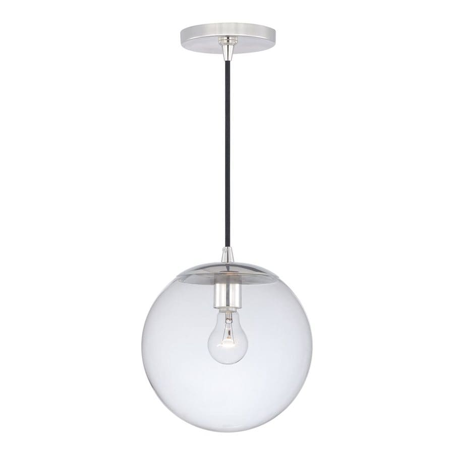 Cascadia Lighting 10-in Polished Nickel Industrial Single Clear Glass Globe Pendant