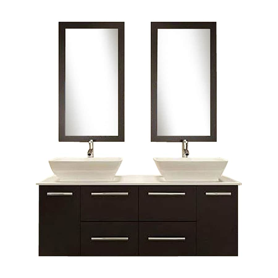 Kokols USA Espresso Vessel Double Sink Oak Bathroom Vanity with Cultured Marble Top (Faucet and Mirror Included) (Common: 60-in x 20-in; Actual: 60-in x 19.6-in)