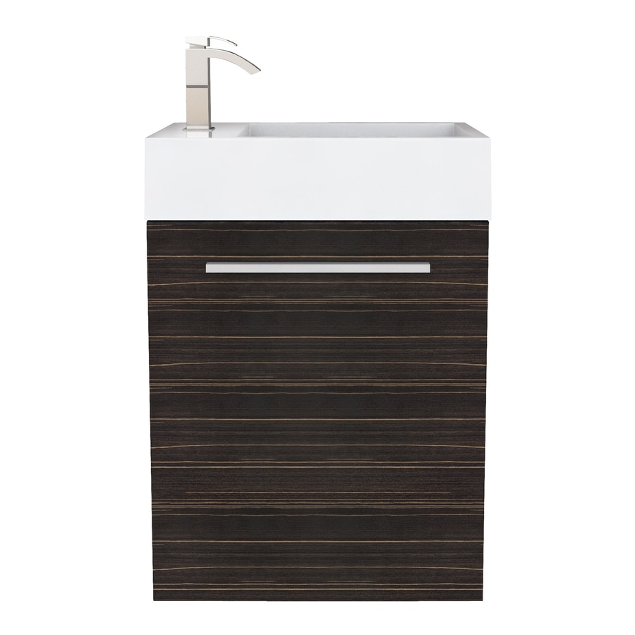 Cutler Kitchen & Bath Boutique Brown Wood Grain Integral Single Sink Bathroom Vanity with Cultured Marble Top (Common: 18-in x 10-in; Actual: 18-in x 10-in)