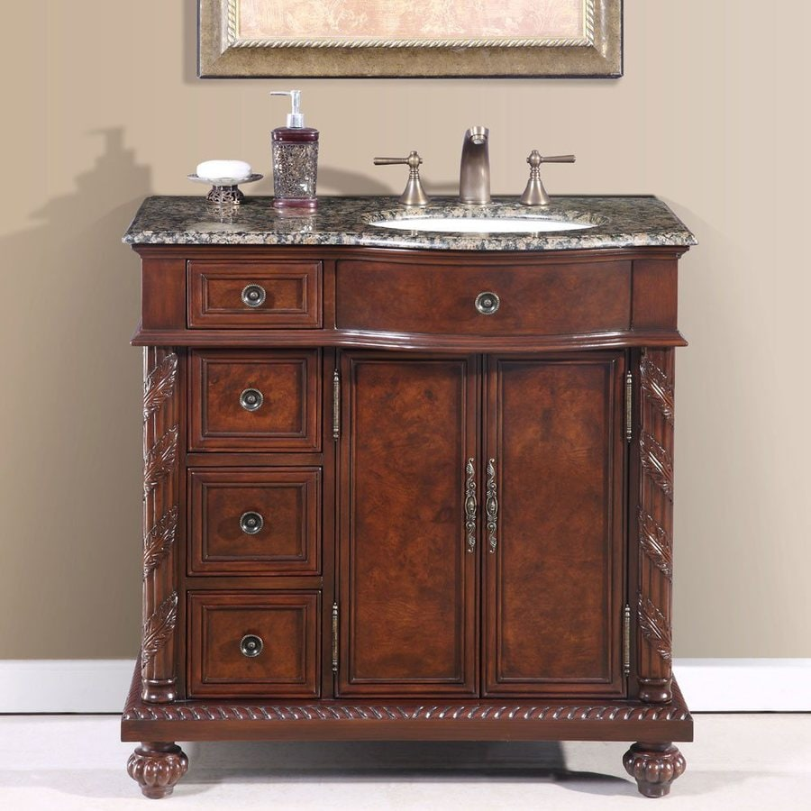 Shop silkroad exclusive victoria undermount single sink bathroom vanity with granite top common Lowes bathroom vanity and sink