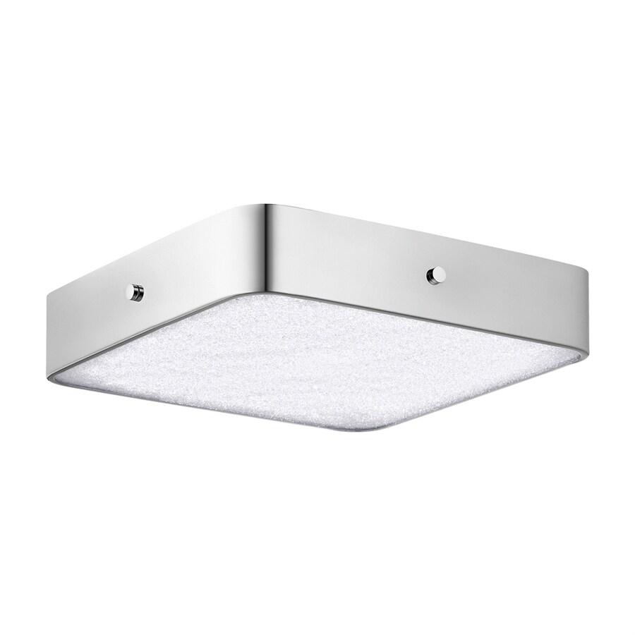 Elan Crystal Moon 15.75-in W Chrome Integrated LED Ceiling Flush Mount Light