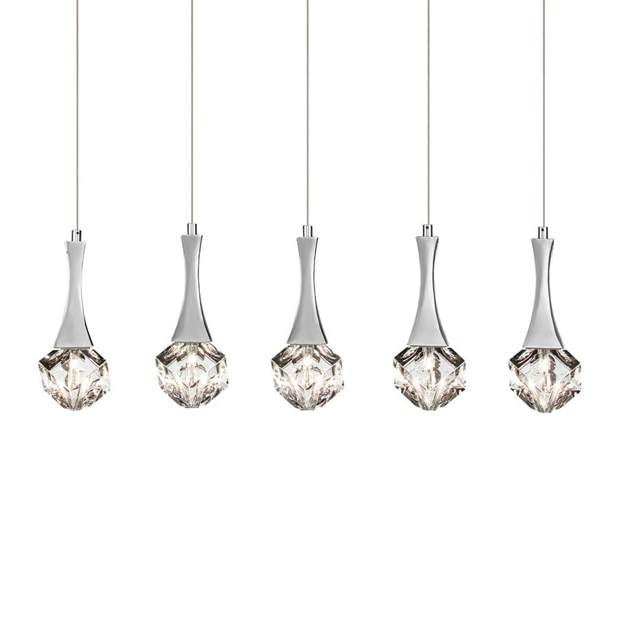 Elan Rockne 4.25-in W 5-Light Chrome Crystal Accent Kitchen Island Light with Crystal Shade