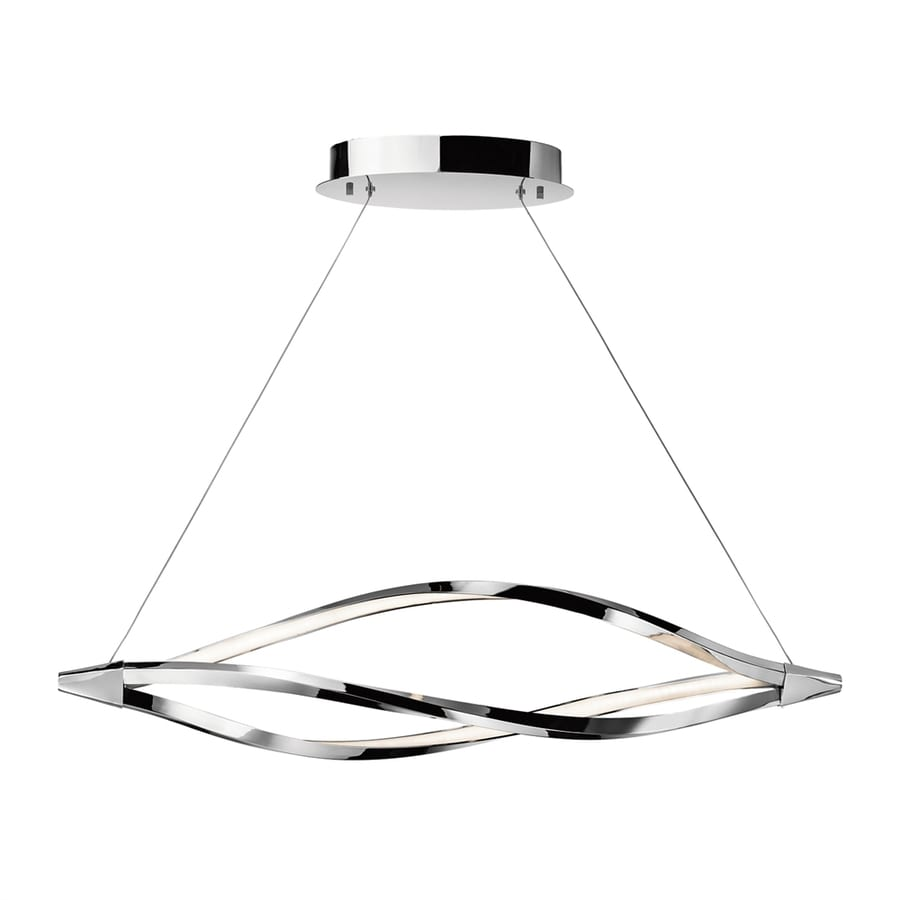 Elan Meridian 11-in W 1-Light Chrome Integrated LED Kitchen Island Light with Frosted Shade