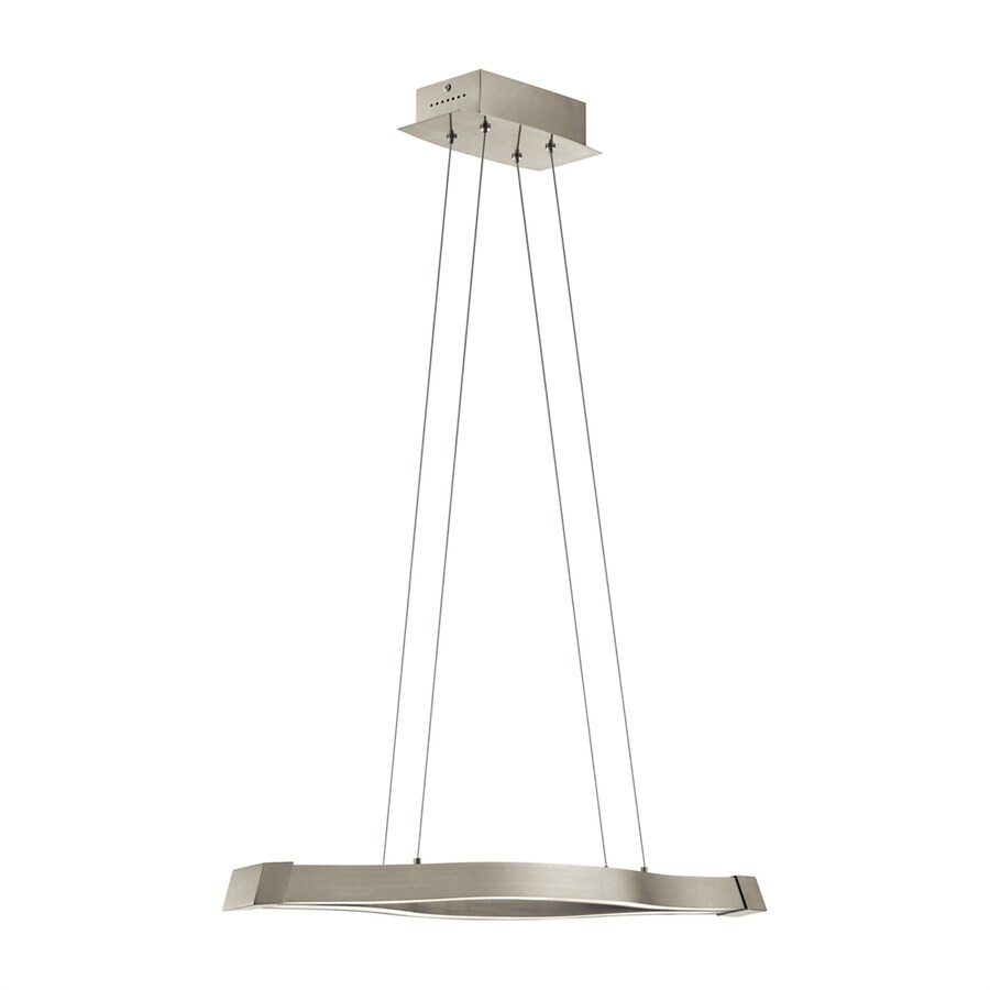 Elan Nya 6.25-in W-Light Satin Nickel Integrated LED Kitchen Island Light with Shade