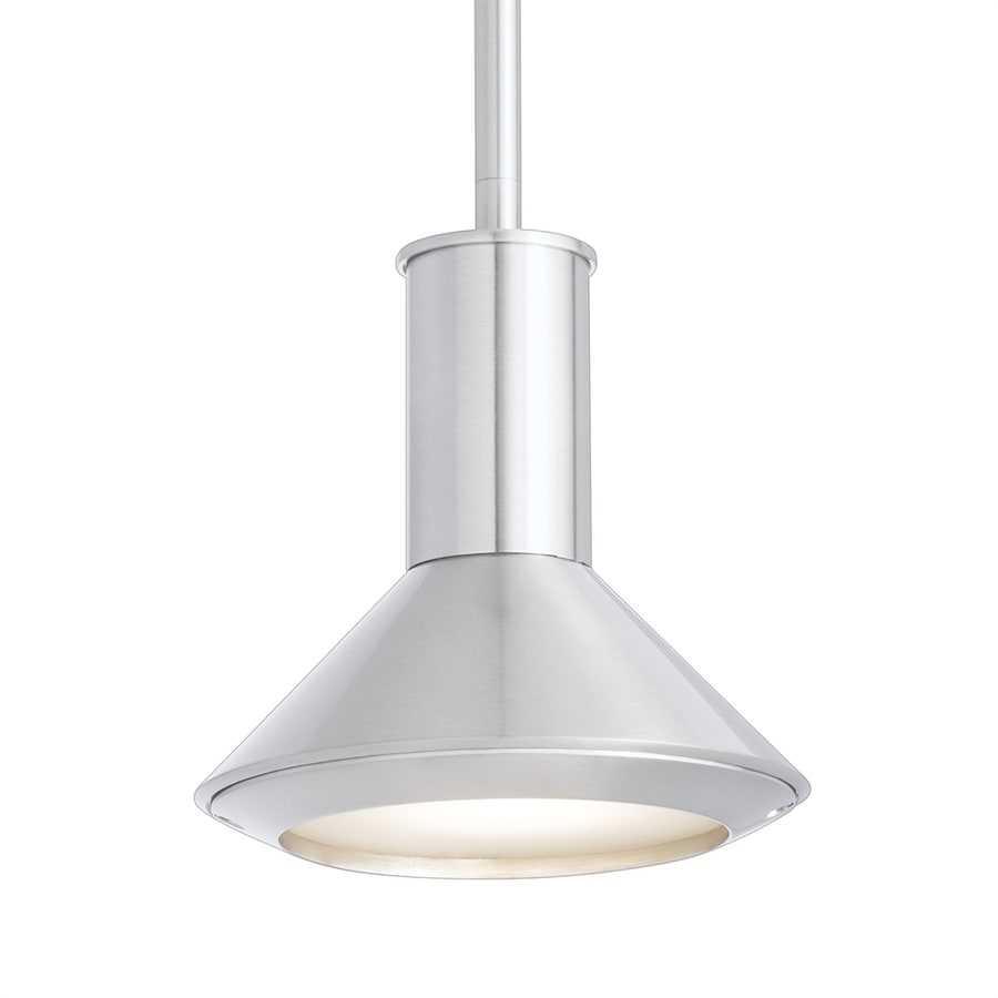 Elan Rovero 6.5-in Brushed Nickel Industrial Hardwired Mini Etched Glass Cone Pendant