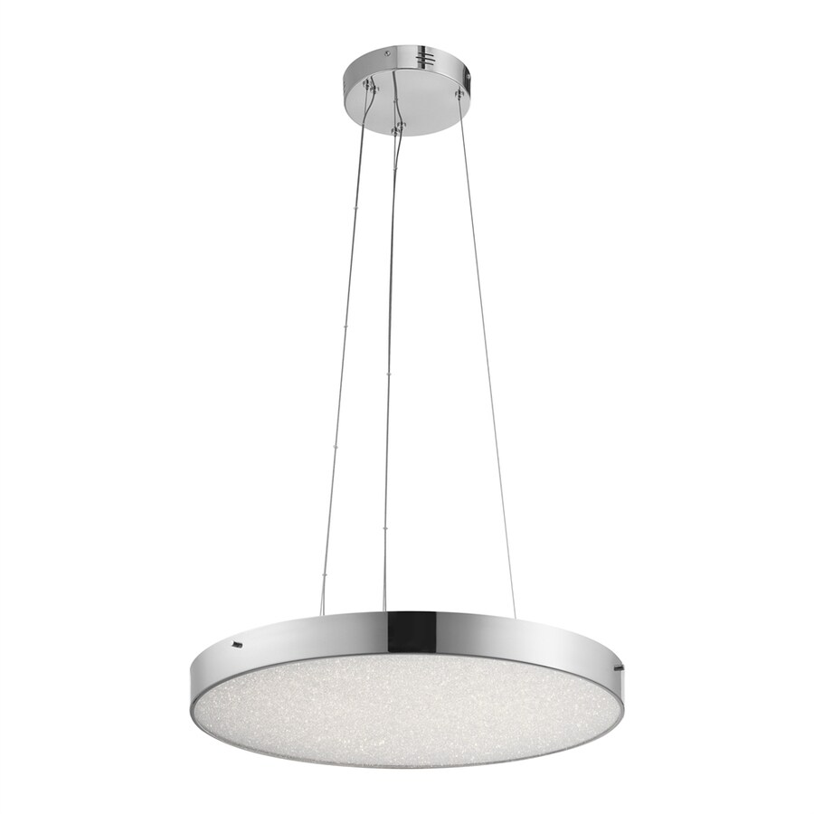 Elan Crystal Moon 24.02-in Chrome Hardwired Single Clear Glass Drum Pendant