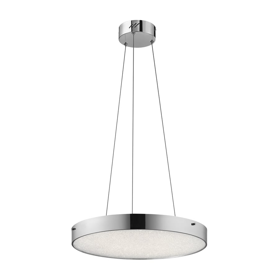 Elan Crystal Moon 19.69-in Chrome Hardwired Single Clear Glass Drum Pendant