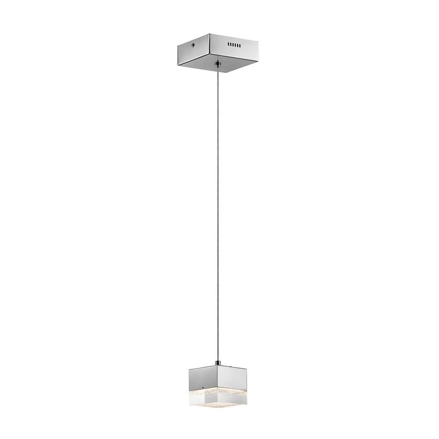 Elan Gorva 4.72-in Chrome Hardwired Mini Clear Glass Square Pendant