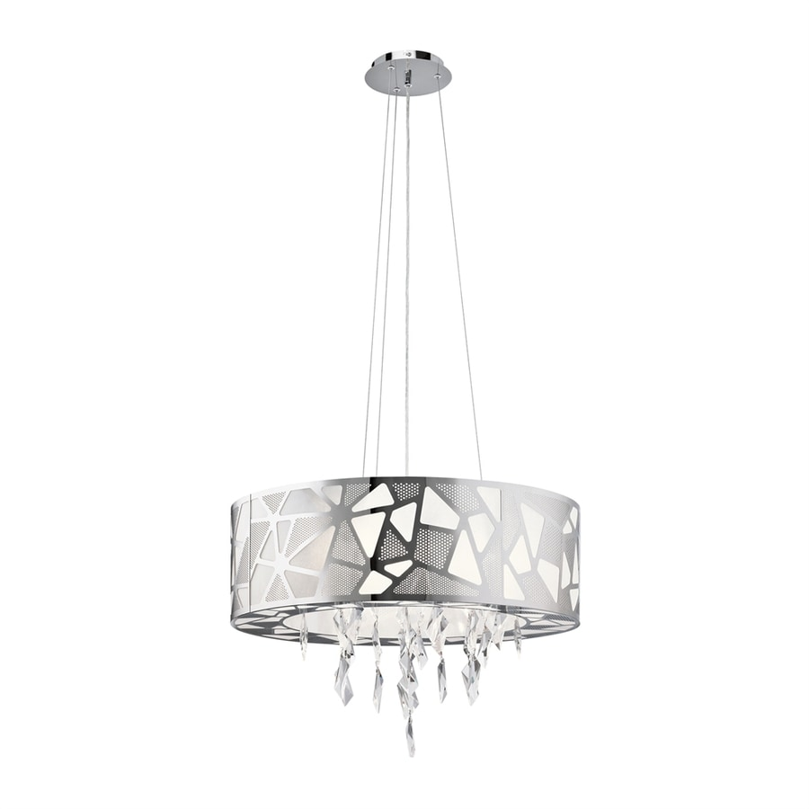 Elan Angelique 14.17-in Chrome Crystal Hardwired Single Drum Pendant