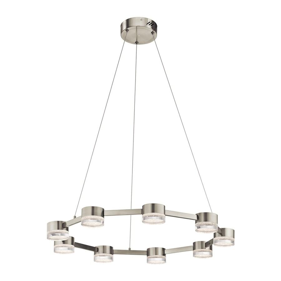 Elan Avenza 30-in Brushed Nickel Hardwired Single Clear Glass Geometric Pendant