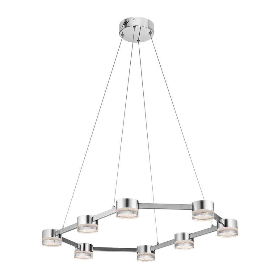 Elan Avenza 23-in Chrome Hardwired Single Clear Glass Geometric Pendant
