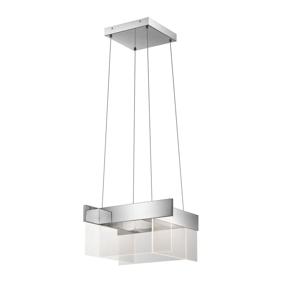 Elan Geo 20-in Chrome Hardwired Single Square Pendant