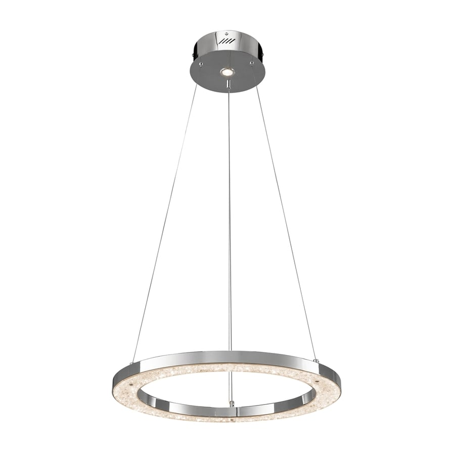 Elan Crushed Ice 24-in Chrome Crystal Hardwired Single Oval Pendant