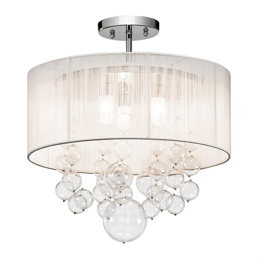 Elan Imbuia 16-in W Chrome Fabric Semi-Flush Mount Light