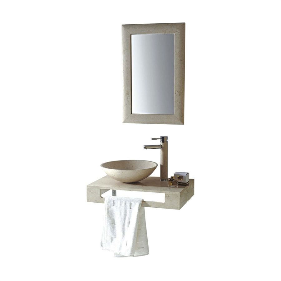 MTD Vanities Rome Galala Marble Vessel Round Bathroom Sink with Faucet (Drain Included)