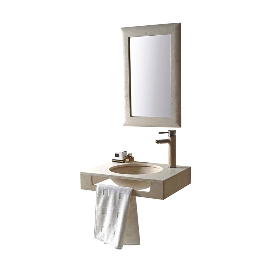 MTD Vanities Rome Galala Marble Undermount Round Bathroom Sink with Faucet (Drain Included)