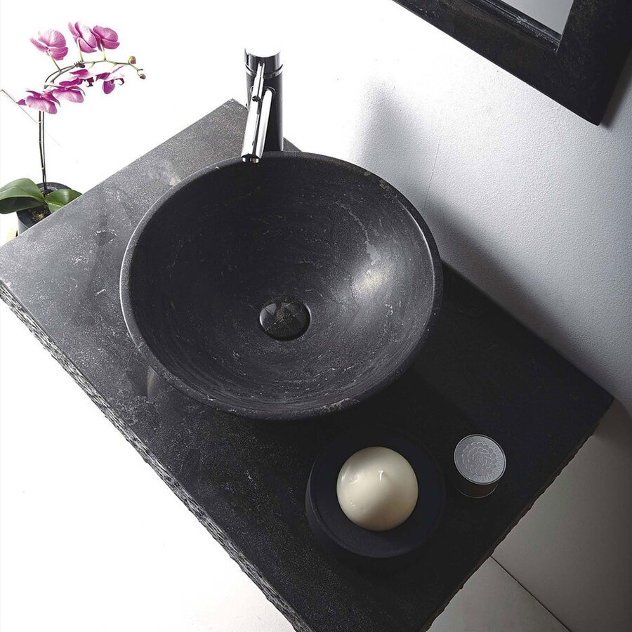 MTD Vanities Rome Blue Stone Vessel Round Bathroom Sink with Faucet (Drain Included)
