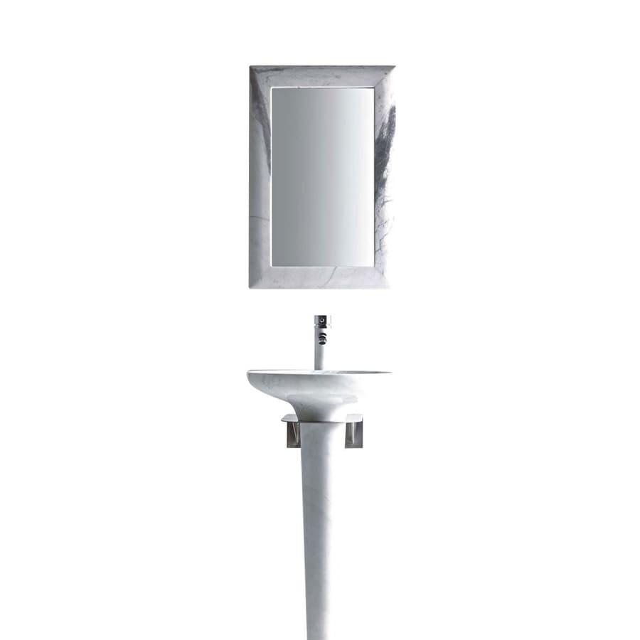 MTD Vanities Zeus 36-in H Carrera White Marble Stone Pedestal Sink (Drain Included)