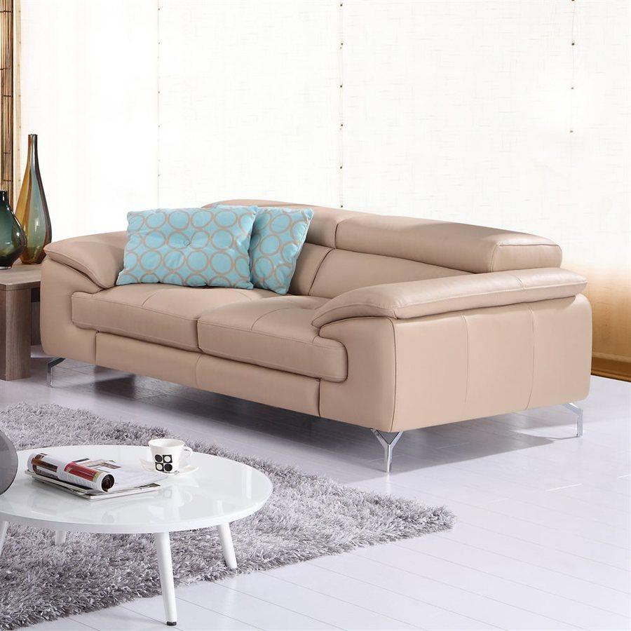 J&M Furniture Peanut Leather Stationary Loveseat