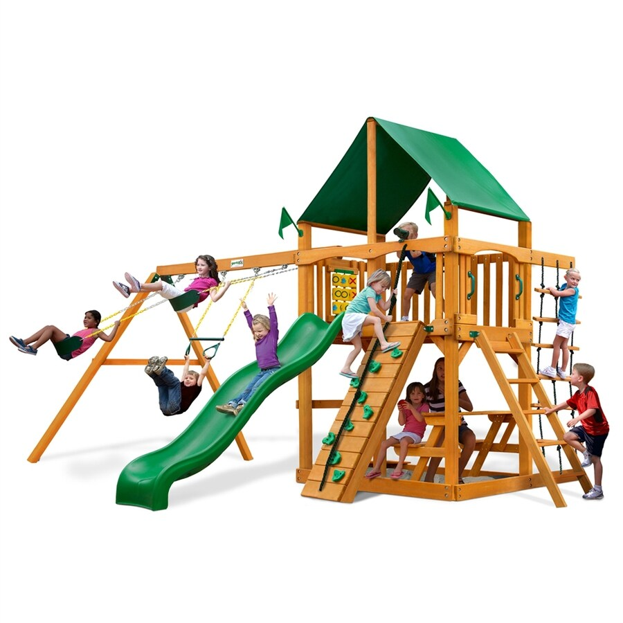Gorilla Playsets Chateau Residential Wood Playset with Swings