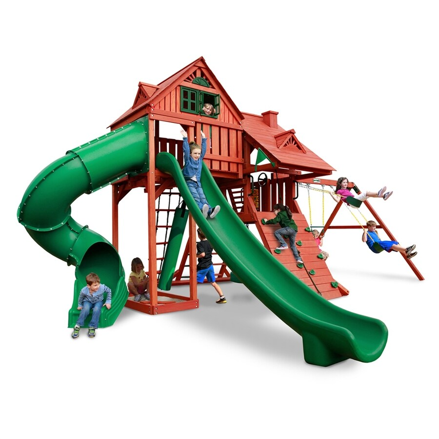 Gorilla Playsets Sun Palace Deluxe Residential Wood Playset with Swings
