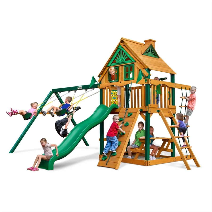 Gorilla Playsets Chateau Treehouse Residential Wood Playset with Swings