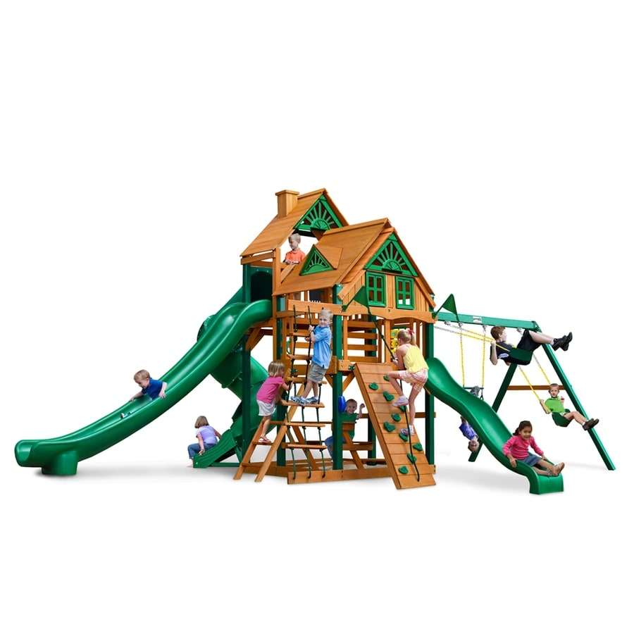 Gorilla Playsets Great Skye II Treehouse Residential Wood Playset with Swings