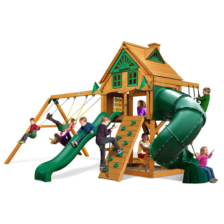Gorilla Playsets Mountaineer Treehouse Residential Wood Playset with Swings