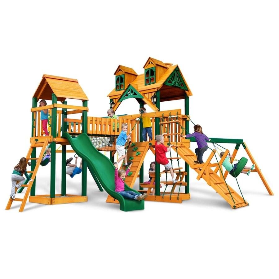 Gorilla Playsets Malibu Pioneer Peak Residential Wood Playset with Swings