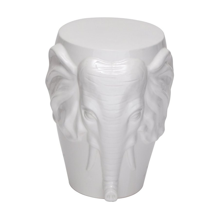 Woodland Imports 18-in Glossy White Ceramic Elephant Garden Stool
