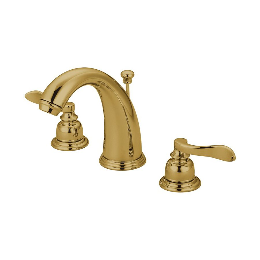 Elements of Design Nuwave French Polished Brass 2-Handle Widespread Bathroom Faucet (Drain Included)