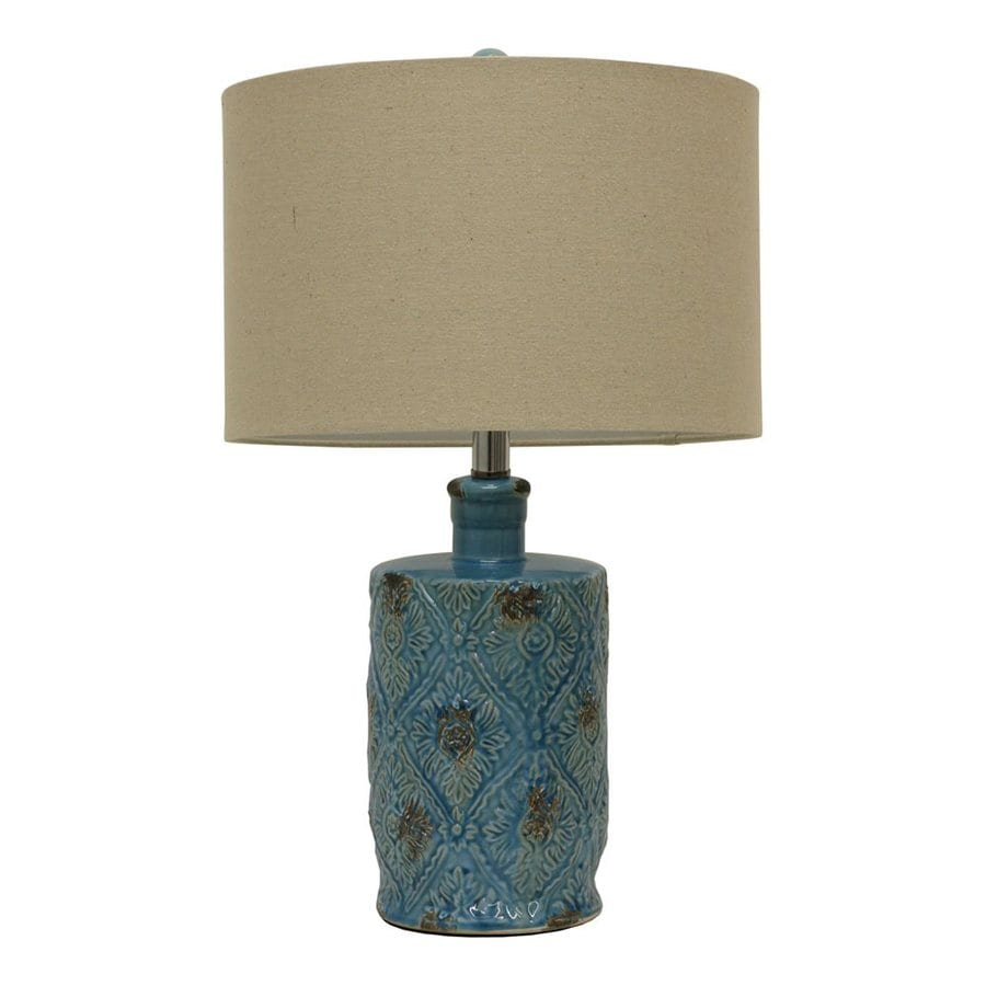 Decor Therapy 23.25-in 3-Way Switch Weathered Turqouise Glaze Indoor Table Lamp with Fabric Shade
