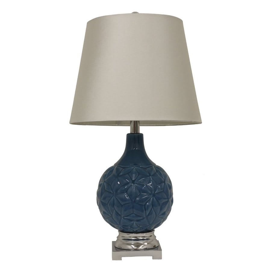 Decor Therapy 26-in Corn Flower Blue Indoor Table Lamp with Fabric Shade