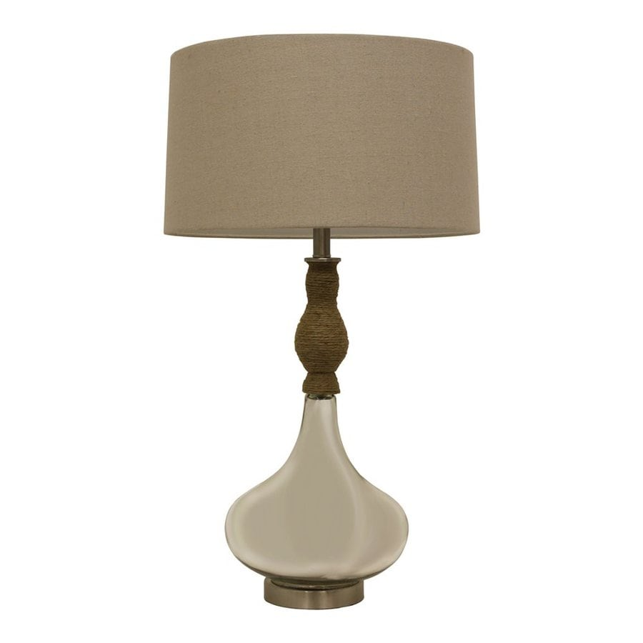 Decor Therapy 33-in 3-Way Switch Mirror Mercury Indoor Table Lamp with Fabric Shade