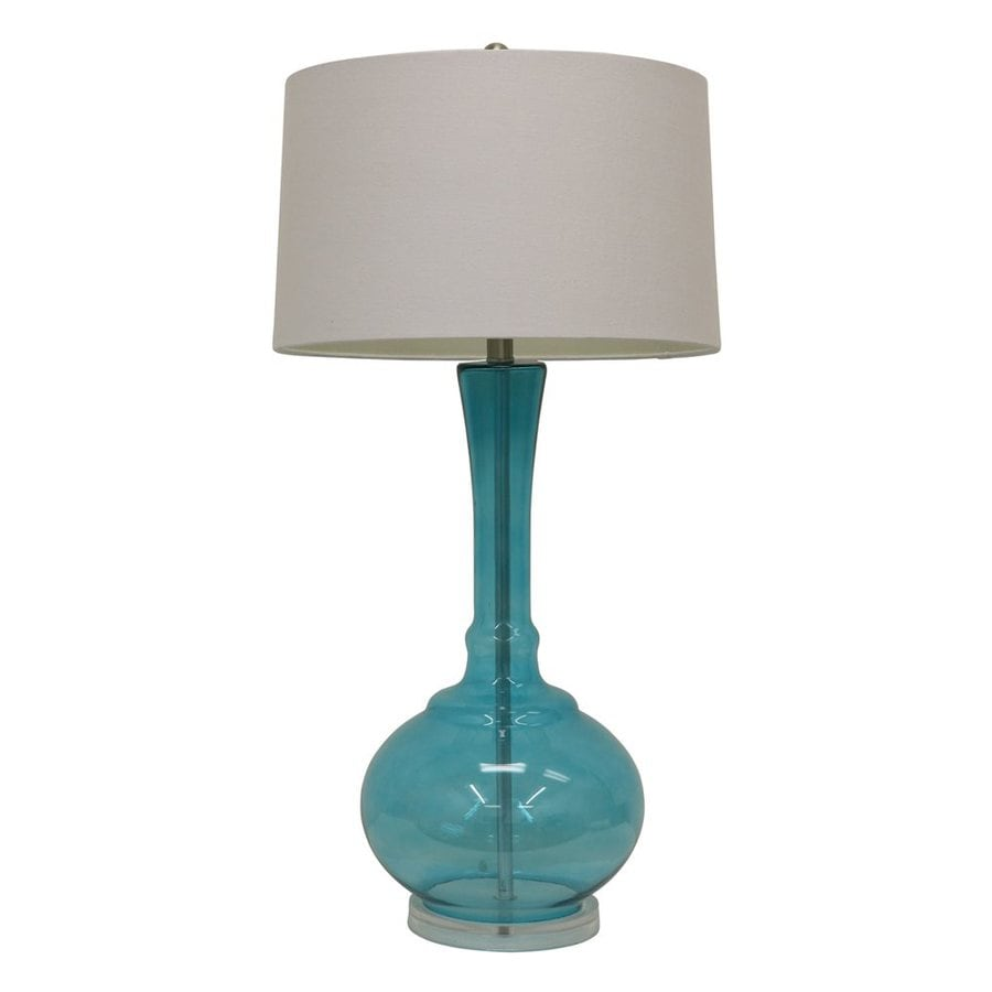 Decor Therapy 35-in 3-Way Switch Clear Spa Blue Indoor Table Lamp with Fabric Shade