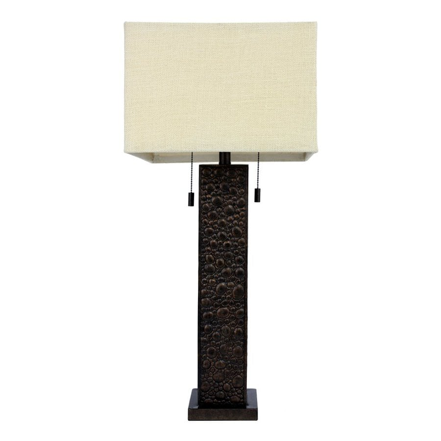 Decor Therapy 31.5-in Bronze Indoor Table Lamp with Fabric Shade