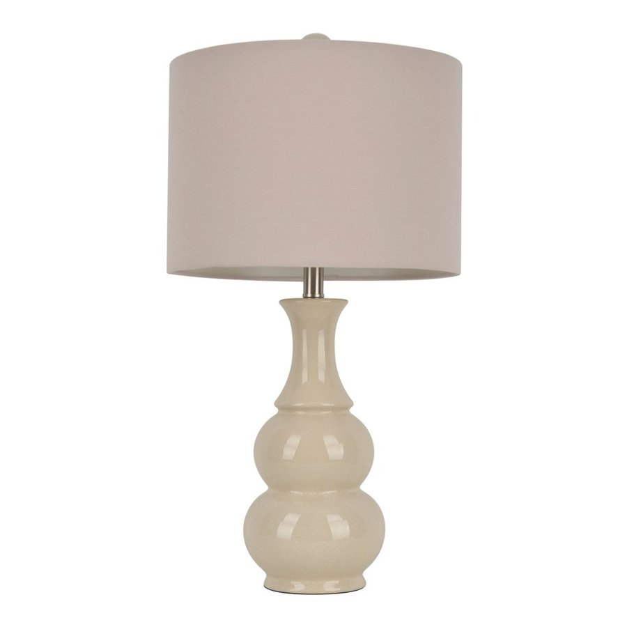 Decor Therapy 26.5-in 3-Way Switch Crackled Ivory Indoor Table Lamp with Fabric Shade