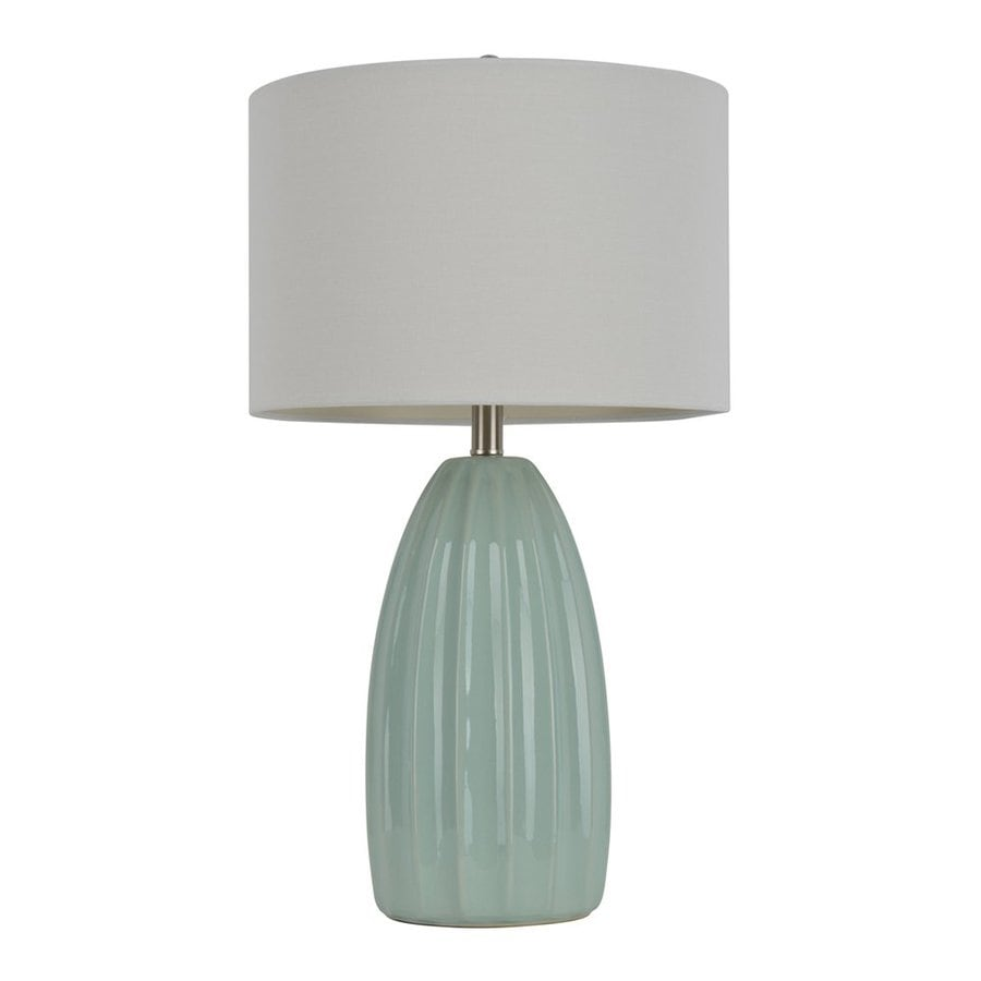 Decor Therapy 27-in 3-Way Switch Blue Indoor Table Lamp with Fabric Shade