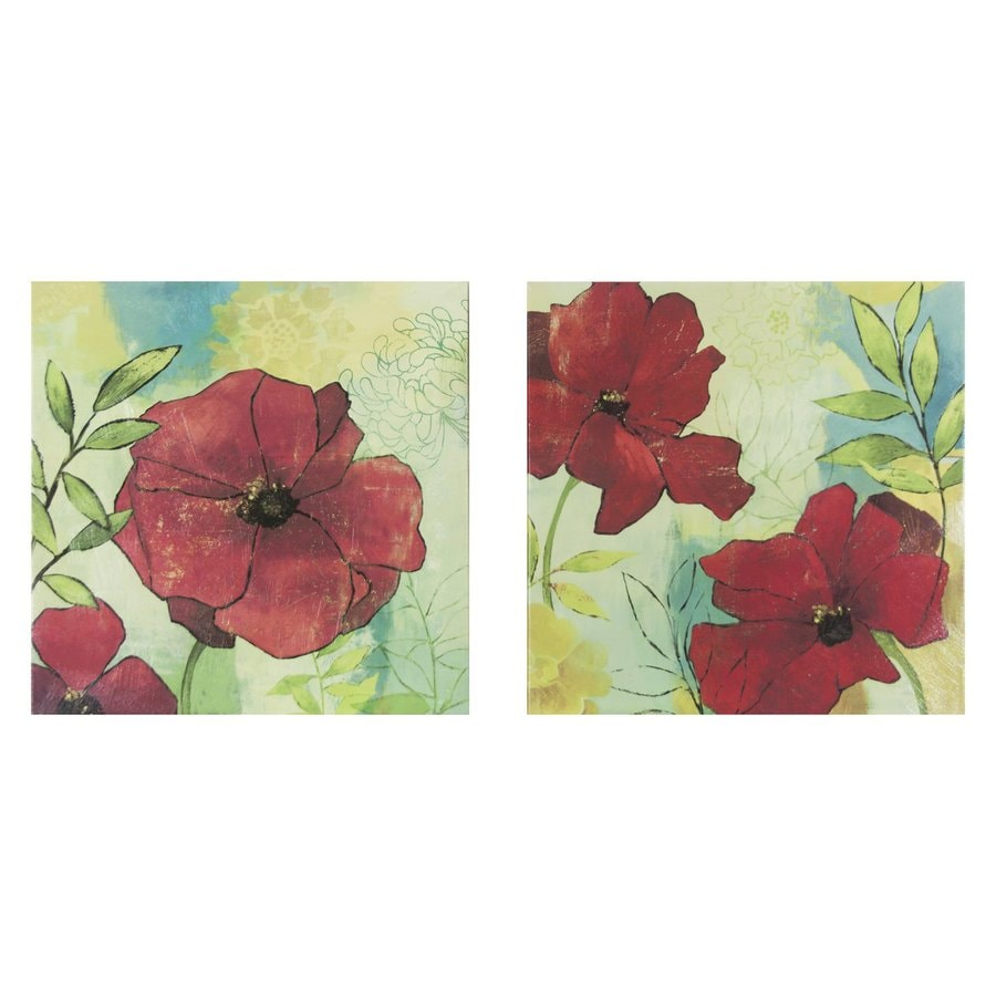 Decor Therapy 2-Piece 24-in W x 24-in H Frameless Canvas Scarlet Florals Print Wall Art