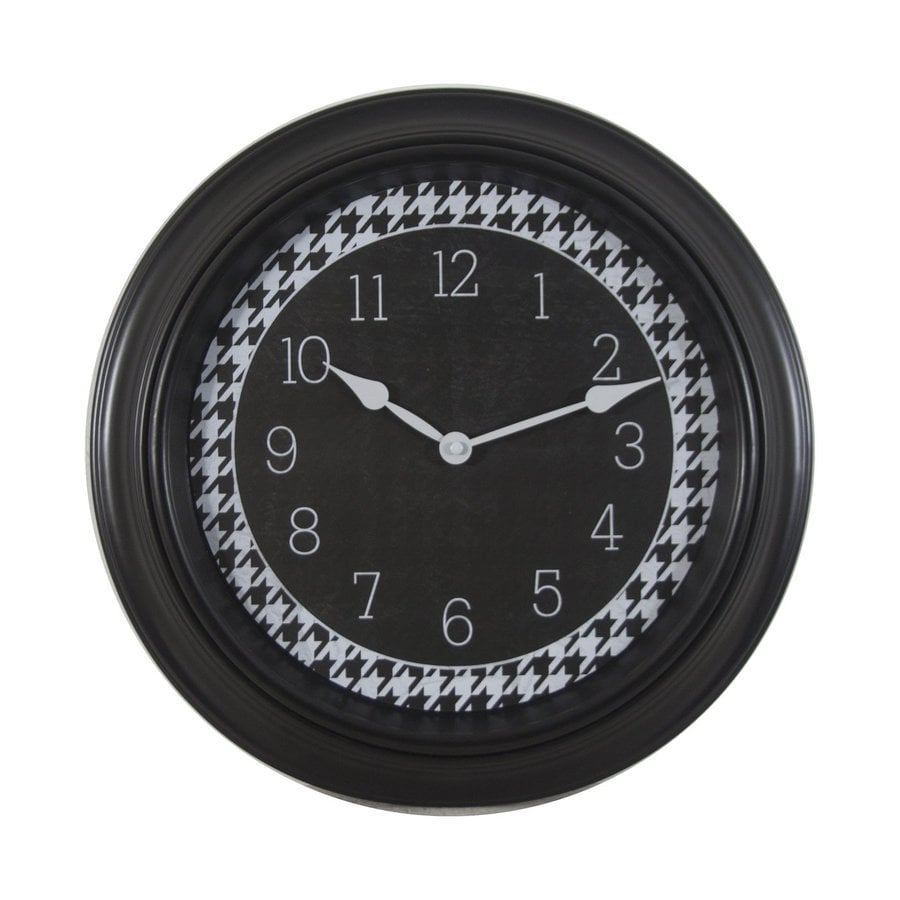 Decor Therapy Hounds Tooth Analog Round Indoor Wall Clock