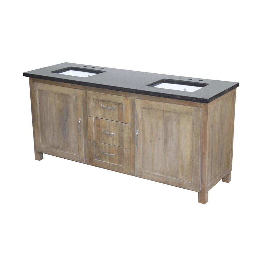 Yosemite Home Decor Natural Undermount Double Sink Mango Bathroom Vanity with Granite Top (Common: 72-in x 24-in; Actual: 72-in x 24-in)
