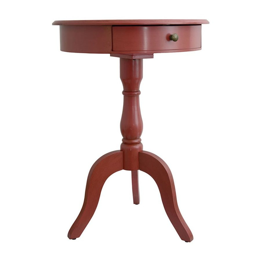Decor Therapy Antique Spiced Coral Round End Table