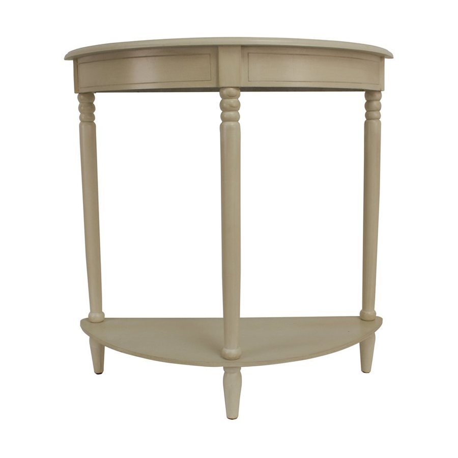 Decor Therapy Simplicity Antique White Composite Half-Round Console and Sofa Table