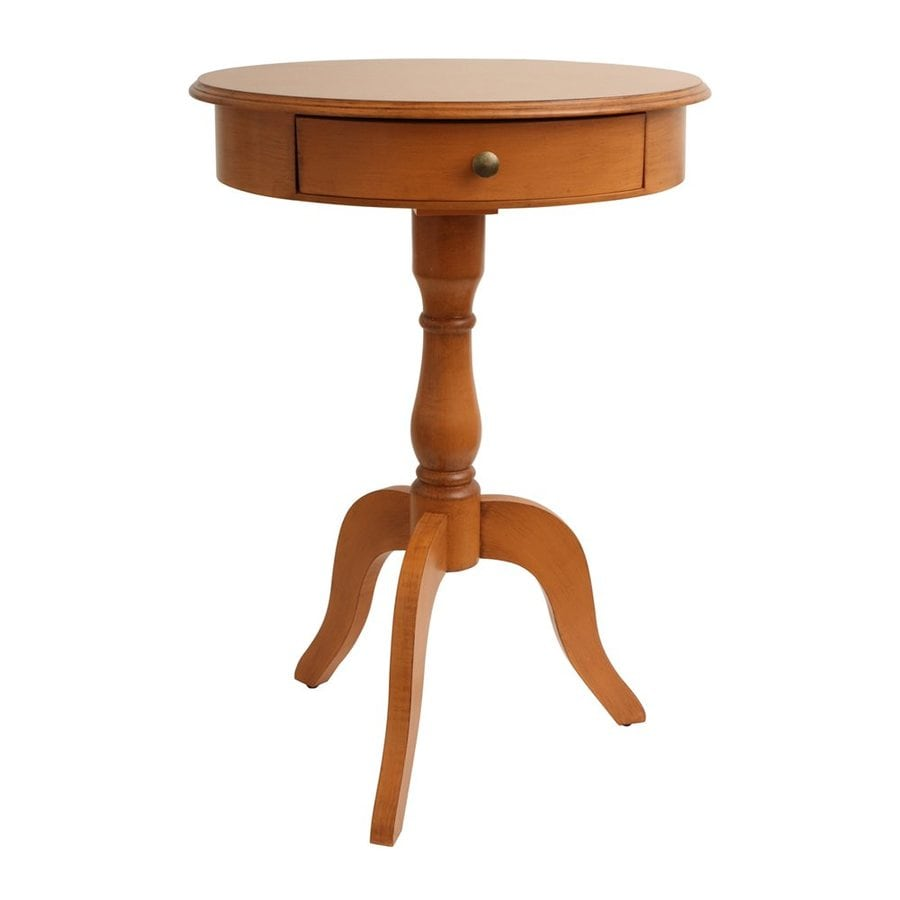 Decor Therapy Honey Pine Composite Round End Table