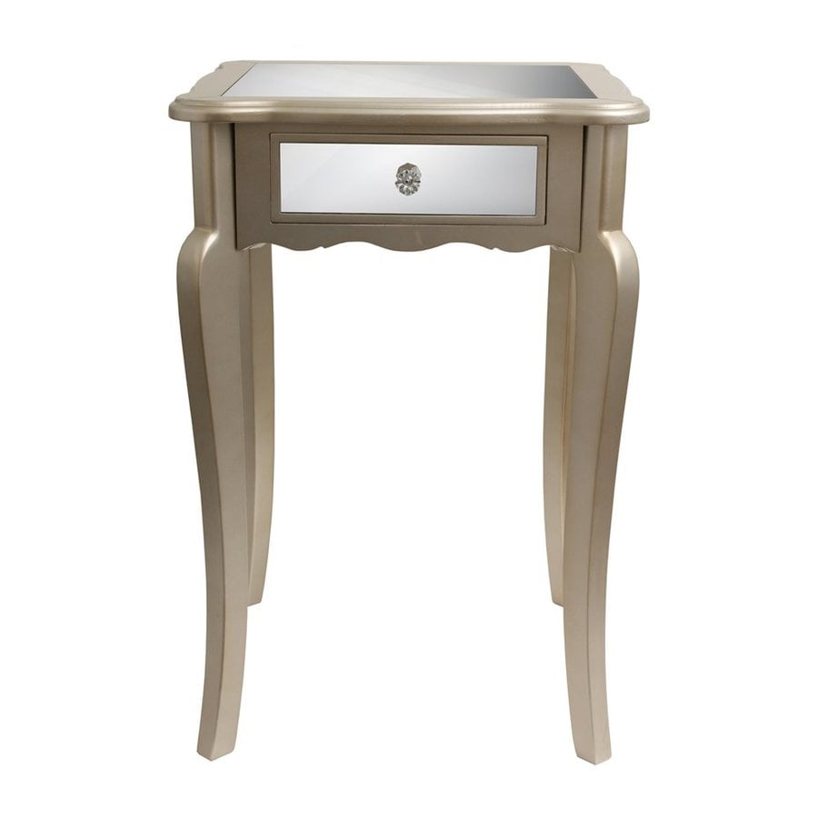 Decor Therapy Silver Leaf Composite Square End Table