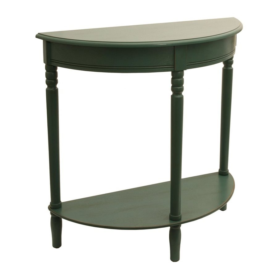 Decor Therapy Antique Teal Composite Half-Round Console and Sofa Table