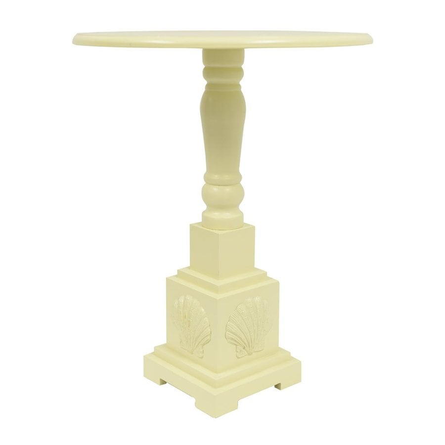 Decor Therapy Buttermilk Composite Round End Table
