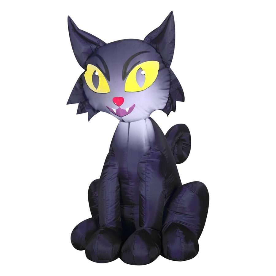 Gemmy Outdoor Scary Cat 3.51-ft x 2.29-ft Lighted Black Cat Halloween Inflatable