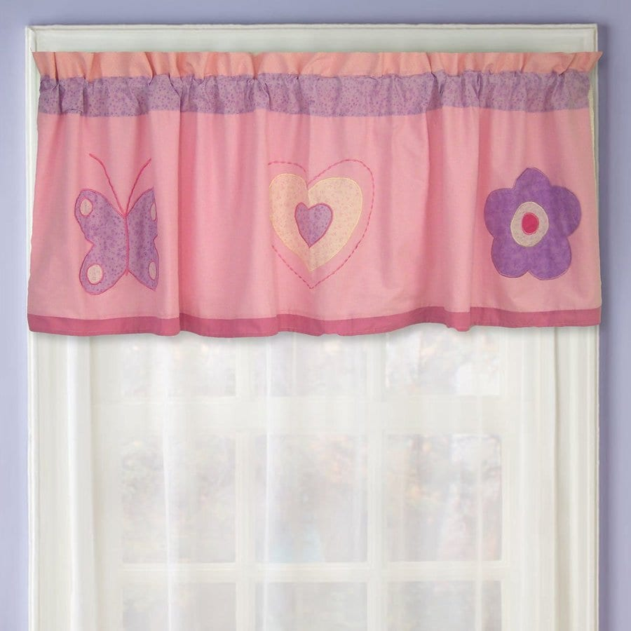 My World Spring Hearts 70-in Light Pink/Lavender Cotton Rod Pocket Valance